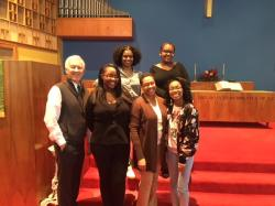New members join from communicants class. From bottom left to right: Rev. Bell, Jamila Springer, Ivana Miranda, Music Mi